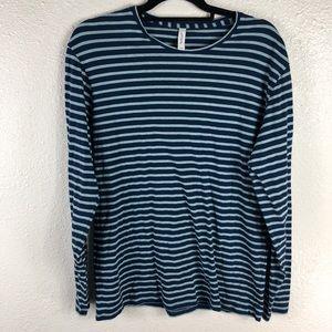 Frank & Oak Shirts - Frank & Oak Blue Striped Tee Size Large